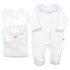 Babygrows de bebé laminados com gola em tecido em branco, rosa e azul claro.