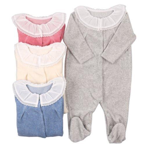 Babygrows pijamas de inverno para bebé em rosa, azul, cinzento e pérola.