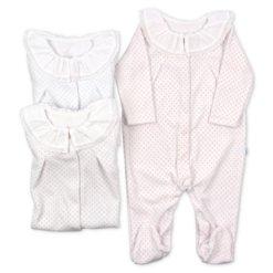 Babygrows para bebé em tecido polar branco com pintas rosa, azul e cinzento.