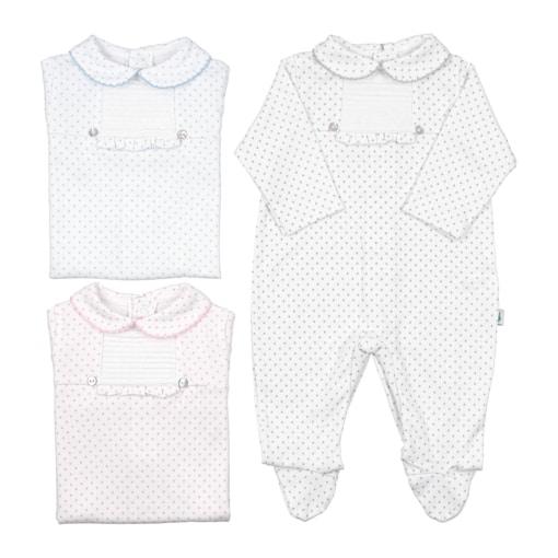 Babygrows de bebé em tecido de algodão com pintas e gola em picueta.