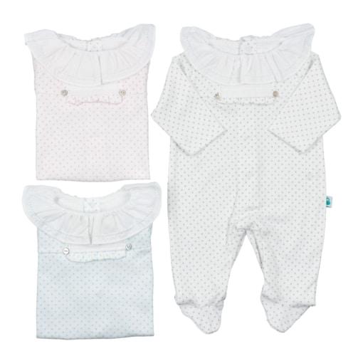 Babygrows de bebé brancos com pintas e gola em tecido.