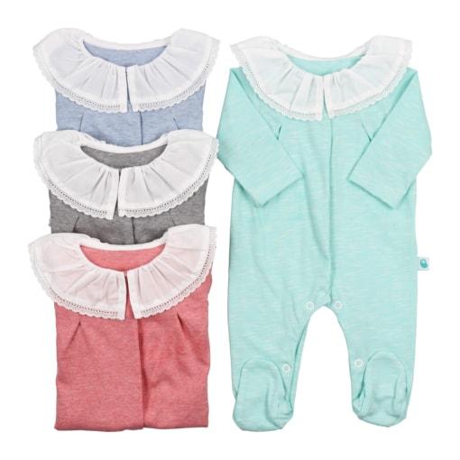 Babygrows de bebé em algodão com gola em tecido.