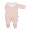Babygrow de bebé rosa com bolinhas em relevo e gola em tecido.