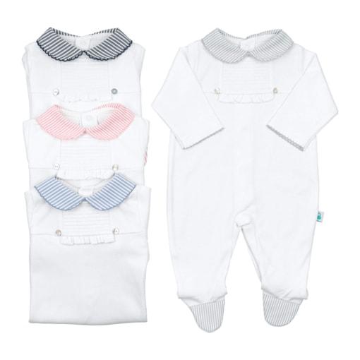 Babygrows de bebé de algodão com a gola em cor azul marinho, azul claro, rosa ou cinzento.