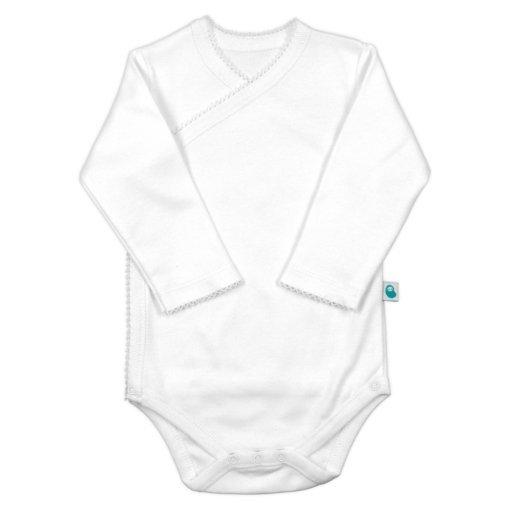 Body de bebé em trespasse branco com manga comprida.
