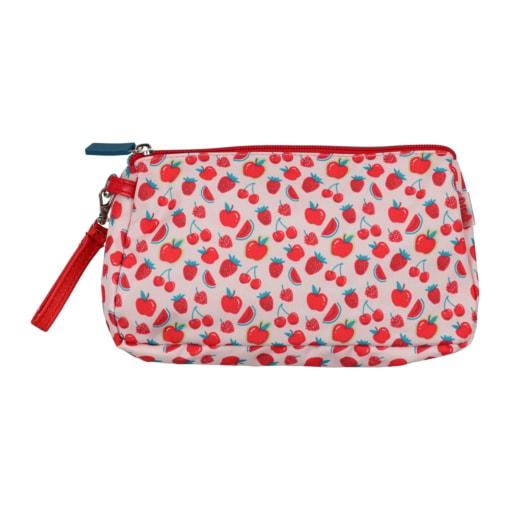 Bolsa de criança com um padrão de frutos vermelhos.