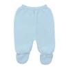 Pormenor de calças de Malha 100% algodão de cor Azul Claro.