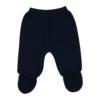 Pormenor de calças de Malha 100% algodão de cor Azul Marinho.