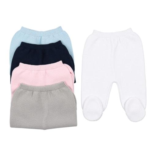 Calças de malha para bebé em azul marinho, azul claro, cinzento, rosa claro e branco.