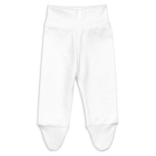 Frente de calças interiores para bebé e recém-nascido de cor branca e com pé.