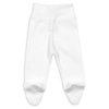 Vista de trás de calças interiores para bebé e recém-nascido de cor branca e com pé.