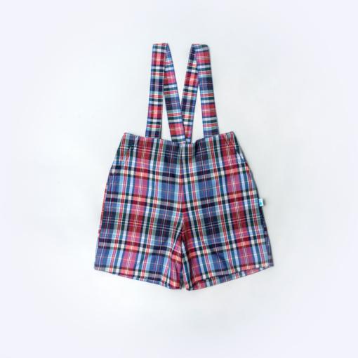 Vista Frente Calções bebé com alças amovíveis. Tecido em Xadrez.