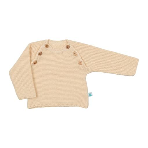 Camisola de Bebé de malha de cor amarela feita em algodão com botões de madeira.