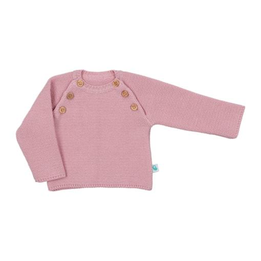 Camisola de Bebé de malha de cor rosa velho feita em algodão com botões de madeira.