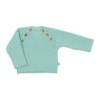 Camisola de Bebé de malha de cor verde feita em algodão com botões de madeira.