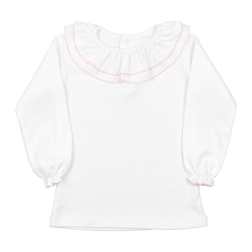 Camisola de bebé branca com a gola dupla de cor rosa claro.