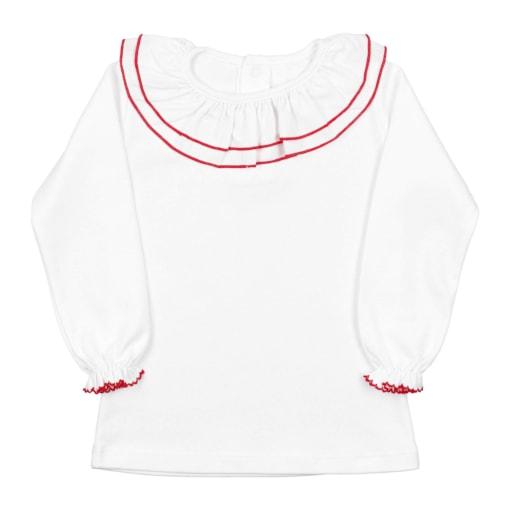 Camisola de bebé branca com a gola dupla de cor vermelha.