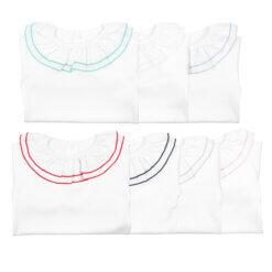 Conjunto de sete camisolas de bebé com gola dupla.