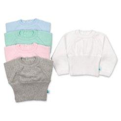 Camisolas de malha para recém-nascido em cinco cores, branco, cinzento, rosa claro, azul claro e verde água.