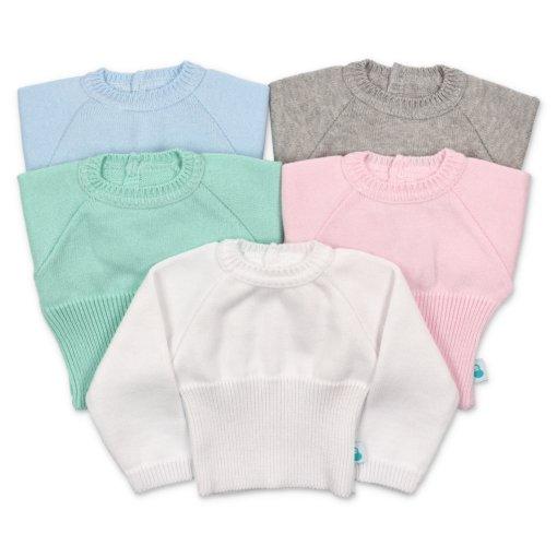 Camisola canelada para bebé em azul, cinzento, verde, rosa e branco.