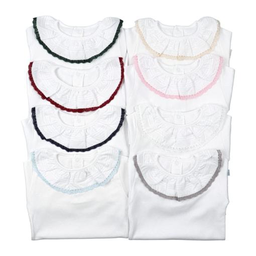 Camisola tshirt branca com gola de renda em cor.