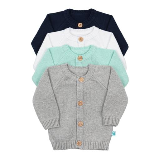 Casacos de bebé em Malha de algodão em quatro cores, branco, cinzento, azul marinho e verde água.