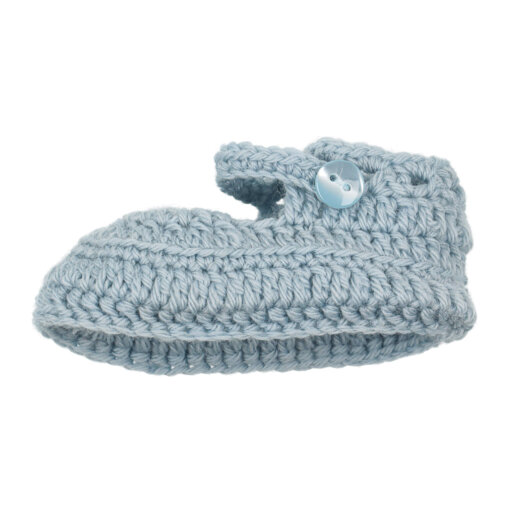 Sapatinhos de Lã para recém nascido em cor azul claro.