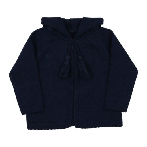 Casaco com carapuço azul marinho para bebé, em malha 100% algodão.