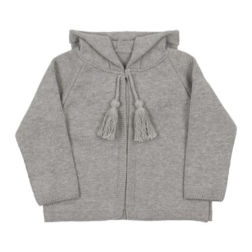 Casaco com carapuço cinzento para bebé, em malha 100% algodão.