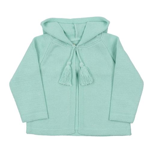 Casaco com carapuço verde água para bebé, em malha 100% algodão.