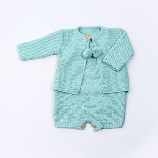 Conjunto de malha composto por fofo e casaco para bebé em verde.