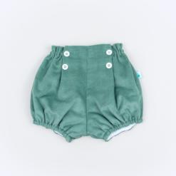 Vista Frente Calções de bebé em bombazine verde.