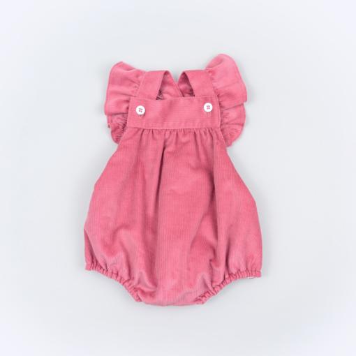 Vista Frente fofo de bebé em bombazine cor de rosa.