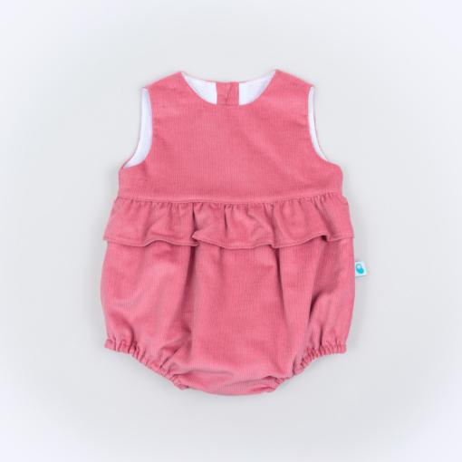 Vista de frente de um Fofo para bebe em bombazine cor de rosa com folho à volta.