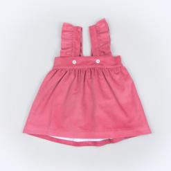 Vista Frente saia de peito de bebé em bombazine cor de rosa.