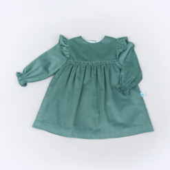 Vista Frente Vestido de bebé em bombazine verde.