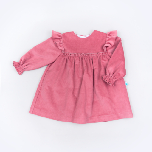 Vista Frente Vestido de bebé em bombazine cor de rosa.
