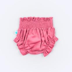 Vista de trás de tapa-fraldas para bebe em bombazine cor de rosa.