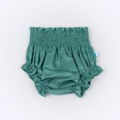 Vista de frente de tapa-fraldas para bebe em bombazine verde.