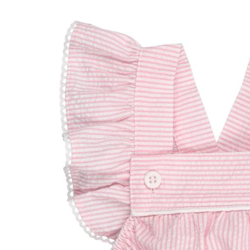 Folho em manga de fofo de bebé em tecido às riscas rosa e branco.