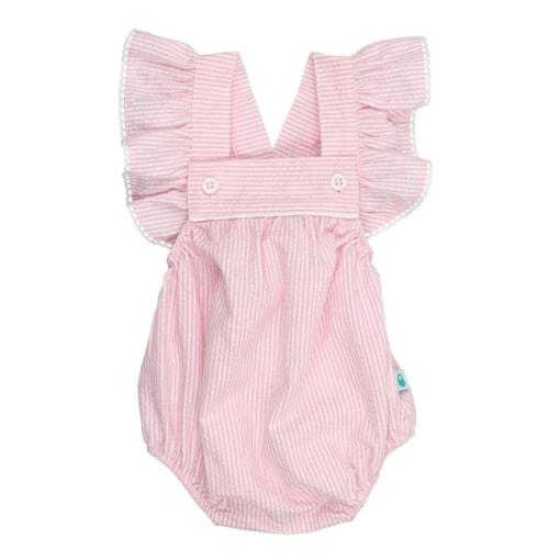 Fofo de bebé com folhos feito em tecido de algodão às riscas rosa e branco.