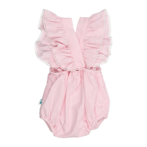 Vista de trás de fofo de bebé com folhos feito em tecido de algodão às riscas rosa e branco.