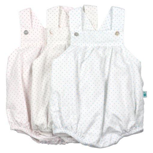 Fofo de bebé com alças branco com pintas.