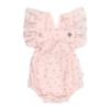 Fofo de bebé em tecido rosa com estampado em flores. Tem folhos nas alças e é feito em tecido 100% algodão orgânico.