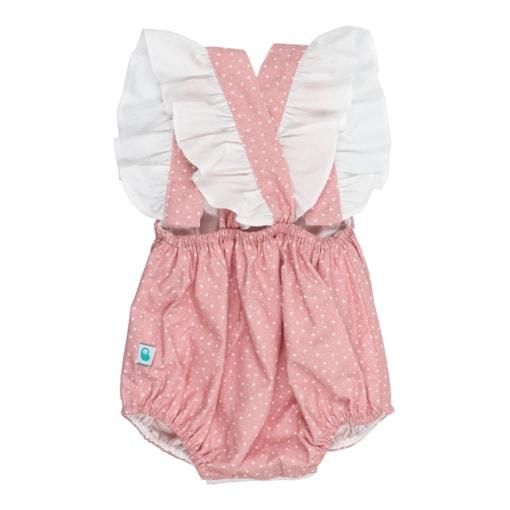 Vista de costas de fofo de bebé em tecido de algodão rosa claro com um padrão de estrelas brancas estampado. Tem botões de massa branca e folhos nas alças que cruzam.