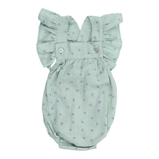 Fofo de bebé com folhos nas alças verde com estampado de flores feito em tecido de algodão orgânico.