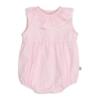 Fofo de bebé às riscas rosa e branco sem manga com gola em tecido e renda grega.