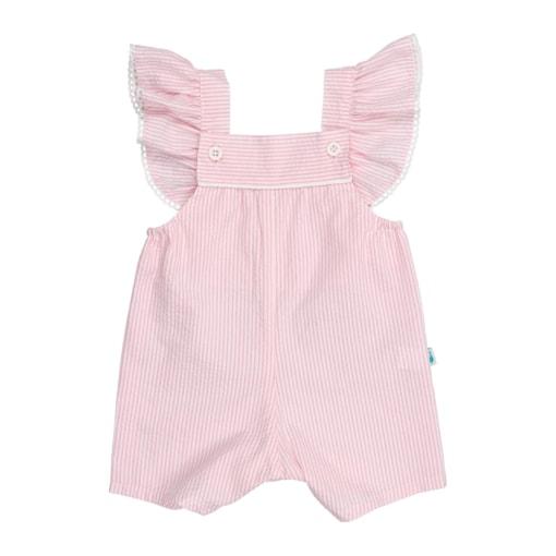 Jardineiras de bebé em tecido crepon rosa com alças com folhos e renda grega.