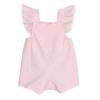 Vista de trás de jardineiras de bebé em tecido crepon rosa com alças com folhos e renda grega.
