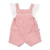 Jardineiras de bebé rosa com estampado de estrelas e folhos nas alças.